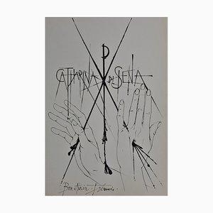 Pierre-Yves Trémois - Sienne, Catharina di Siena - Handsigned dry point - 1963