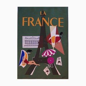 Jean-Luc GAILLET : Tourisme : La France - Gouache originale signée pour le projet de l'affiche - 1964