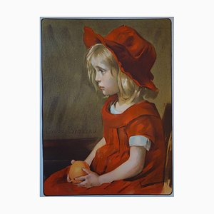 Louise Breslau - Fillette à l'orange , Lithographie originale signée (1897)