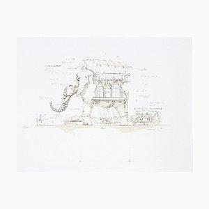 François DELAROZIERE - L'éléphant, lithographie originale signée et numérotée