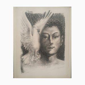 """Hans Erni, """"Enfant à la colombe"""" - Lithographie originale sur VELIN, signée"""