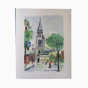 Litografia Saint Germain des Prés Original di Maurice Utrillo