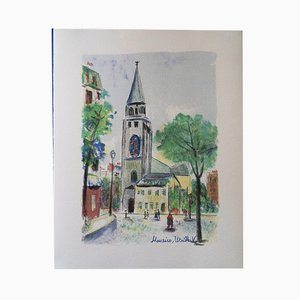 Saint Germain des Prés Original Lithograph by Maurice Utrillo