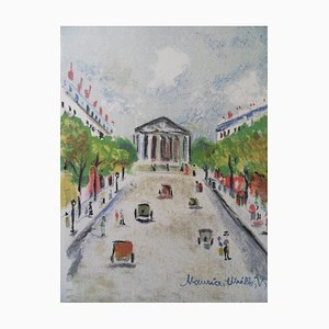 Paris, The Madeleine and the Rue Royale Original Lithograph by Maurice Utrillo