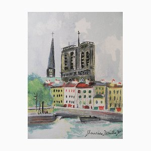 Maurice UTRILLO - Notre Dame seen from the Seine, Original lithograph