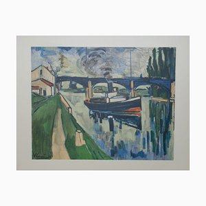 La Seine à Poissy Lithograph by Maurice De Vlaminck