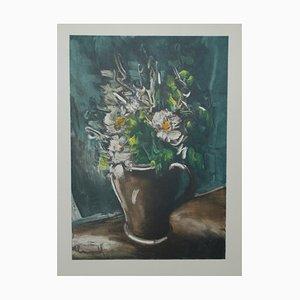 Fleurs au Pot de Grès Lithograph by Maurice De Vlaminnck