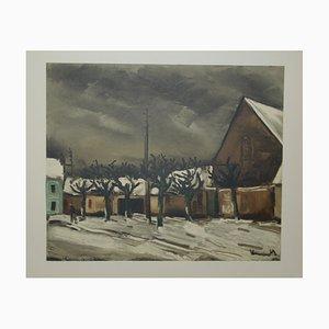 Les Tilleuls Sous la Neige Lithograph by Maurice De Vlaminnck