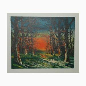 Coucher de soleil Forêt de Senonches Lithograph by Maurice De Vlaminnck
