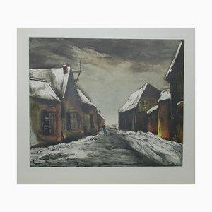 Maurice De Vlaminck - Allainville sous la neige - Lithograph