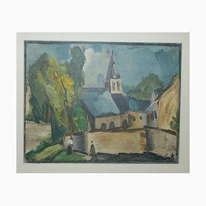 L'église de Bougival Lithograph by Maurice De Vlaminck