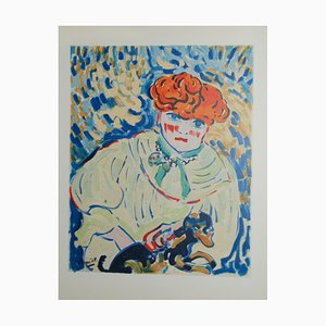 Femme au Chien Lithographie von Maurice De Vlaminck
