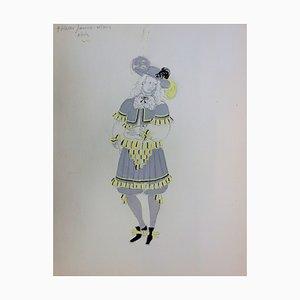 Dessin de Costume Style Mousquetaire par Suzanne Lalique
