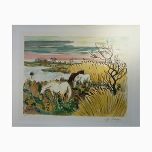 Horses in Camargue Lithograph by Yves Brayer