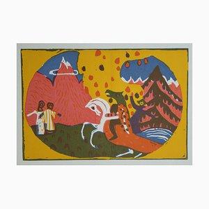 Incisione di montagne in legno di Vassily Kandinsky, 1913