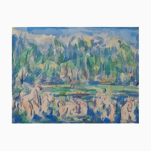 Baigners on the Edge of the Lake Lithograph Reprint by Paul Cézanne, 1947