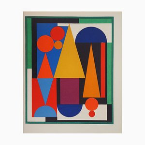 Auguste HERBIN - Red Composition 2, 1949, limited edition screenprint