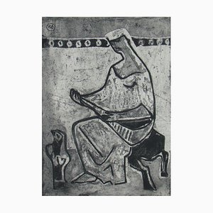Woman with Madolin Etching by Eberhard Schlotter