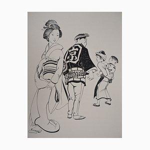 Japanese with Dolls Engraving by Tsuguharu Foujita, 1955