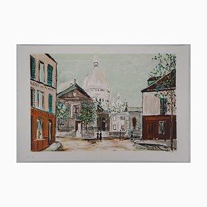 Eglise Saint-Pierre, Place du Tertre à Montmartre Lithografie Reprint von Maurice Utrillo