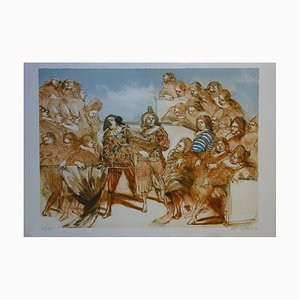 Claude WEISBUCH - Molière at the theater, original lithograph