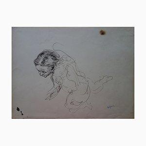 Etude de Modèle à Genoux Drawing by Demetrios Galanis