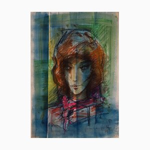 Brunette in The Headscarf Painting by Sacha Chimkevitch