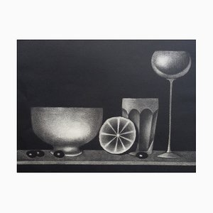 Still-life with Olives Etching by Mario Avati