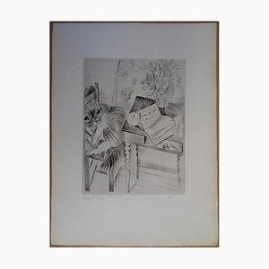 Chat endormi Engraving by Mily Possoz
