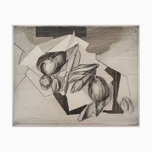 Jacques VILLON : Still life with nuts, 1929 - Original signed etching