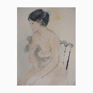 Jeune femme décolletée Lithograph Reprint by Berthe Morisot, 1946