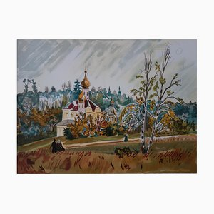 Russia, Little Orthodox Church Lithograph by Yves Brayer