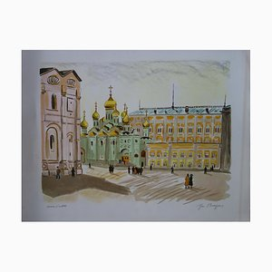 Russia, Cupolas on the Grand Place Lithograph by Yves Brayer