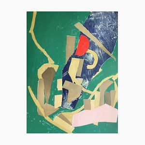 André Lanskoy - Composition with green background, original signed lithograph