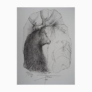 Gravure Acteon, Cerf et Jeune Femme par Pierre-Yves Tremois