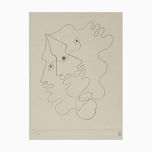 Litografia Omaggio a Cocteau: Faces di Jean Cocteau, 1993