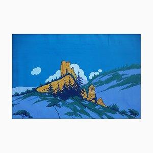 Robert PICHON (attribuito a) - Le rovine di una fortezza, originale guazzo (Belle époque 1920/30)
