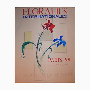 Floralies Internationales Gouache by Jean-Luc Gaillet, 1964