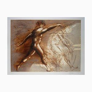 Jean-Marie Guiny - Lanceur de Javelot -Original etching - 1990