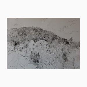 Bernard GANTNER - Chemin de village, 2005, Dessin original au crayon noir