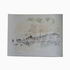 Harbour Lithograph by André Hamburg