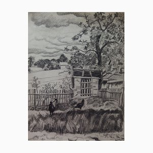 Gilbert POILLERAT - The Hen House, 1940, original drawing