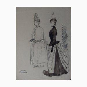 Studio ad inchiostro di donna elegante di Henri Maigrot