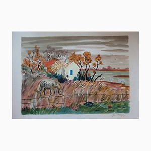 Paysage de Camargue Lithograph by Yves Brayer