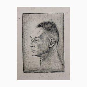 Portrait de Montherlant Etching by Pierre-Yves Trémois