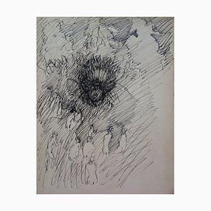 Edouard Goerg - Paysage fantastique - Dessin original signé