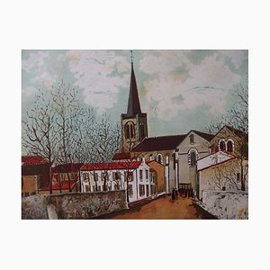 Suburban Church Lithograph Reprint by Maurice Utrillo