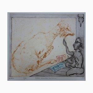 Peintre Animalier La chèvre Radierung von Mordecai Moreh