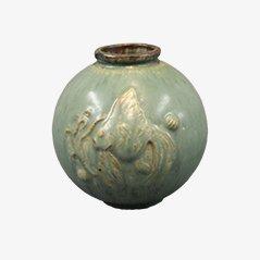 Jarrón de cerámica esmaltado en verde de Arne Bang, años 60