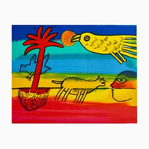 CORNEILLE -The red palm tree, Signed and numbered lithograph
